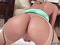 Sexy model with a big tits August Ames sucks a big cock hunk guy