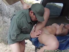 Latina rides cock outside
