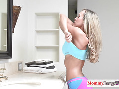 Amazing bigtitted stepmom fucks young couple