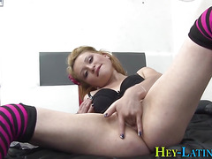 Horny latina gets facial