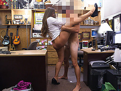 Big ass babe loves when she gets fucked by the pervert shop owner in standing position