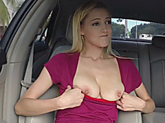 Mila Evans flashes her big tits and fucked by stranger dude