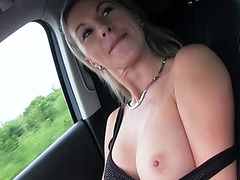 Horny blonde Milf gets fucked hard in a guys car