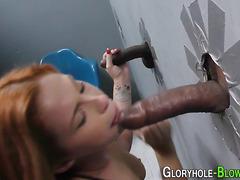 Redhead sucks black dick