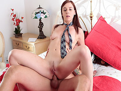 Audrey Holiday rides her ass on top of the hard meat