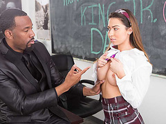 Hot babe Melissa sucks instructors big black fuck shaft