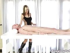 Slutty cfnm loving masseuse swallowing