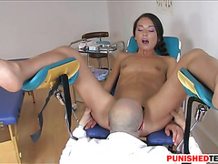 Teen bitch deepthroats and asshole nailed by the doctor