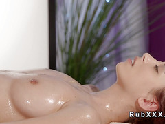 Redhead and blonde massaging and tribbing