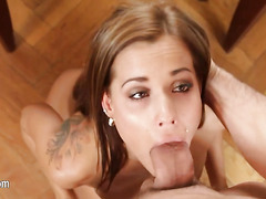 Hot glamour having whole cock in her mouth