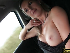 Busty amateur blonde babe Alena sucks and fucked in public