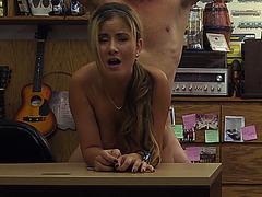 Sweet horny waitress spreading her pussy for fucking