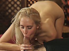 Young blondie goes naked and sucks a dick before it gets inside of her pussy