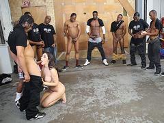Valentina Nappi Orally Pleases A Bunch Of Black Cocks