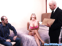 Busty stripping milf inspected and facialized