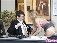 Babe in glasses screwed hard on the desk