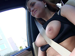 Busty Euro babe Barbara Bieber flaunts her pussy for cash