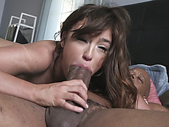 Curvy brunette gets banged hard from behind in interracial sex adventure