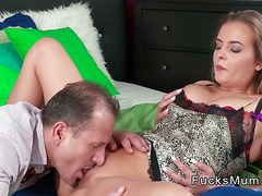 Sexy busty mom banged till creampie