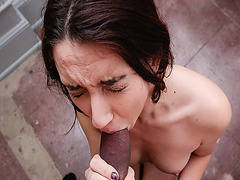Mandy Muse gives a deep throat blowjob to a big cock