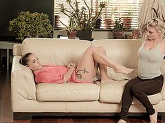 Horny babe Afrodity seduces the boyfriend to do an erotic threesome