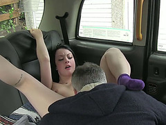 Brunette and sexy Bitch gets fucked by a taxi driver