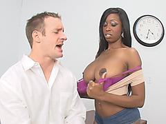 Busty ebony Codi Bryant rides and blowjobs white cock