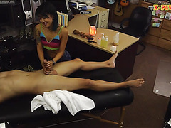 Asian pawns her massage table and fucked at the pawnshop