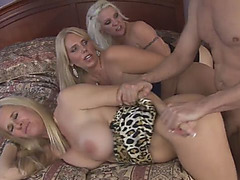 Three Stunning Blonde MILFs Fucked Hard In Hot Orgy