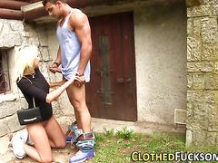 Slut gets clothes cummed