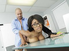 Ebony babe Brittney White fucks her hunk horny boss