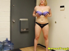Busty cockloving milf tugging the meat pov