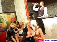 Classy euro pissing babes cockriding in group