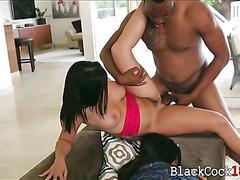 Keisha Grey gets banged by big black boner on the couch