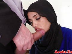 Arab amateur in a hijab plowed with cock