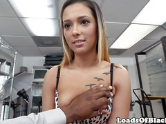 Pierced casting babe pounded by black agent
