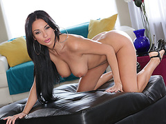 Busty babe Anissa Kate straddles on a huge black cock
