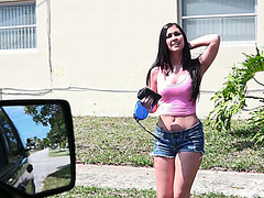 Brunette and sexy hitchhiker Brittany Shae gets fucked by dude