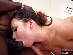Petite brunette with hot ass rides monster black cock