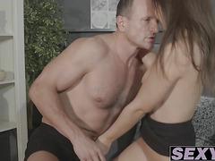 Hot brunette mom Anina enjoys taking dick deep inside her
