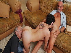 Roger gets a blowjob while Frankie eats Christine