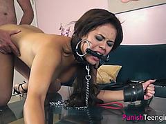 Brunette Sofia Enjoys BDSM, Fingering