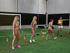 A dodgeball field with naked hot coeds getting fuck randomly