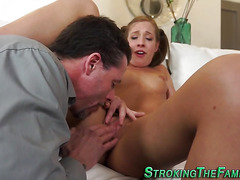 Teen stepdaughter licked