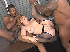 Slutty Office Cougar Kiki Daire Fucks Two Black Thugs On Desk