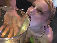 Dirty European slut bounces on dick while getting showered with piss