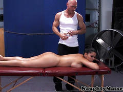 Naked sports massage for a busty beauty