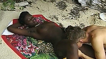 Curvy African chick bangs in outdoor action