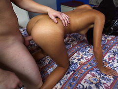 She got her pussy pounded from behind while being filmed