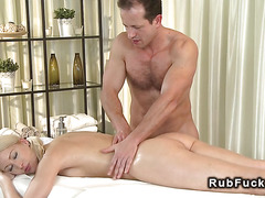 Masseur bangs small tittied blonde and cums